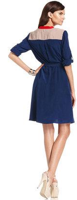 Amy Byer Dress, Roll-Tab-Sleeve Colorblocked Shirtdress