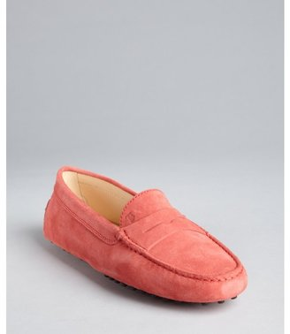 Tod's carnation suede moc toe penny loafers