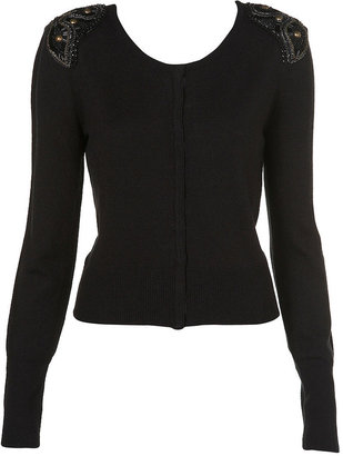 Topshop Knitted Short Beaded Cardigan