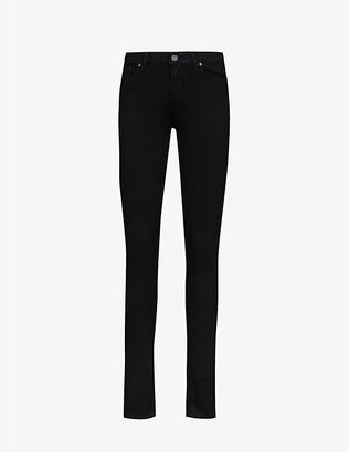 Paige Ladies Black Leather Denim Shadow Verdugo Ultra-Skinny Mid-Rise Jeans, Size: 23