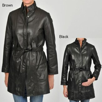 Knoles & Carter Women's Belted Leather Jacket $162.99 thestylecure.com