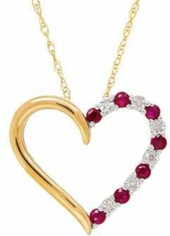 Fine Jewellery 14K Goldplated Sterling Silver 0.018 TCW Diamond and Ruby Heart Pendant Necklace