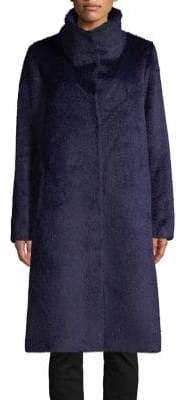 Eileen Fisher High Collar Faux Fur Coat