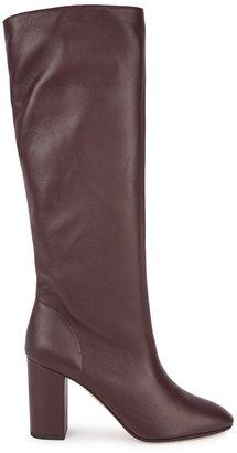 Aquazzura Boogie 85 Plum Leather Knee-high Boots