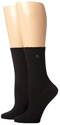 Lauren Ralph Lauren Supersoft Cable Trouser 2 Pack (Black) Women's Crew Cut Socks Shoes
