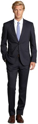 HUGO BOSS Dark Blue Pinstripe Wool 2-Button Suit With Flat Front Pants