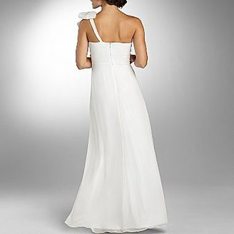 JCPenney Liliana Ruffle One-Shoulder Ruched Wedding Dress