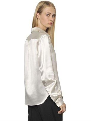 Maison Martin Margiela Jeweled Collar Silk Satin Shirt