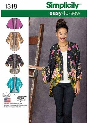 Simplicity Women's Kimono Jackets Sewing Patterns, 1318