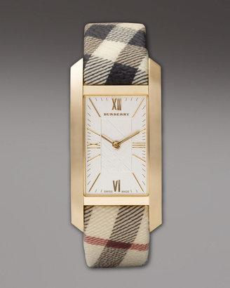 Burberry Check-Strap Rectangular Watch, Golden