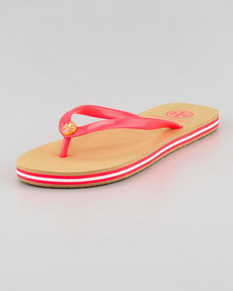 Tory Burch Neon Striped Rubber Flip Flop, Neon Pink