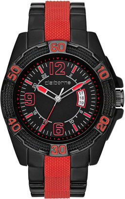 Claiborne Mens Red & Black Sport Watch