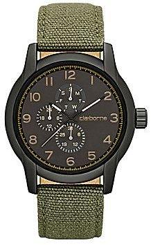 Claiborne Mens Round Dial Multifunction Green Canvas Strap Watch