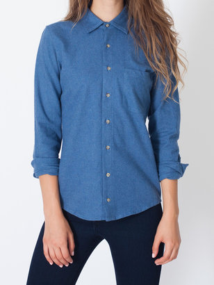 American Apparel Unisex Flannel Long Sleeve Button-Up with Pocket