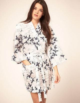 Kiku Cotton Kimono In Crane Waltz