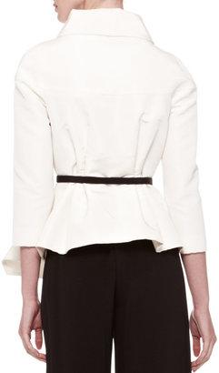 Carolina Herrera Belted Silk Wrap Blouse, Ivory