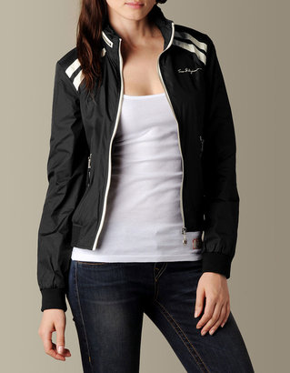 WOMENS STRIPED NYLON ZIP JACKET W/HOOD - (Black)