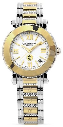 Charriol Parisii Medium Round Yellow Gold Plated Watch, 33mm $1,380 thestylecure.com