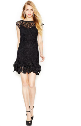 Jessica Simpson Floral-Lace Ruffled-Hem Sheath $188 thestylecure.com