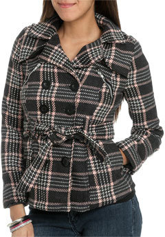 Wet Seal WetSeal Plaid Double Breasted Zippered Peacoat Peach