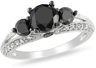 Ice.com 2 Carat Black and White Diamond 14K White Gold Engagement Ring with Black Rhodium