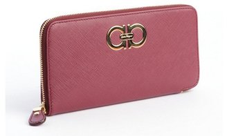 Salvatore Ferragamo coral leather double gancio detail wallet