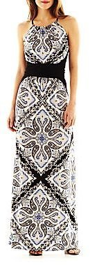 London Times London Style Collection Paisley Print Halter Maxi Dress