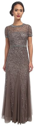 Adrianna Papell - Cap Sleeve Fully Beaded Gown Women's Dress $320 thestylecure.com