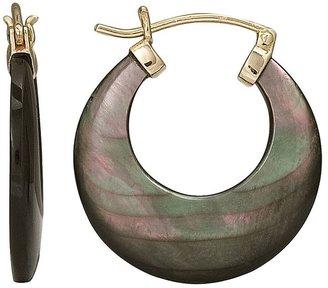 10k Gold Black Mother-of-Pearl Hoop Earrings