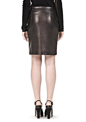 Alexander Wang Raw Edge Asymmetric Zip Front Pencil Skirt