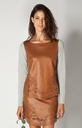 Hale Bob Shayla Faux Leather Top In Henna