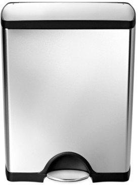 Simplehuman Brushed Stainless Steel 50 Liter Fingerprint Proof Rectangular Step Trash Can