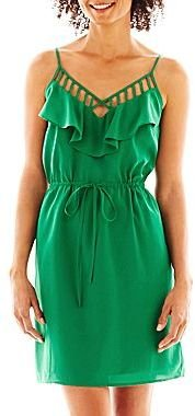 JCPenney a.n.a® Ruffled-Neck Cutout Dress - Petite