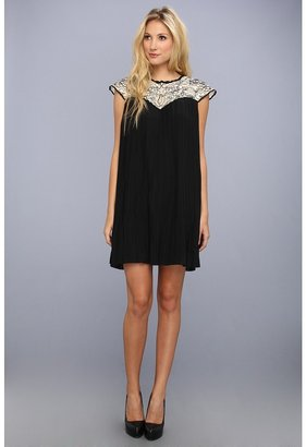 Ted Baker Wastila Lace And Pleats Dress (Black) - Apparel
