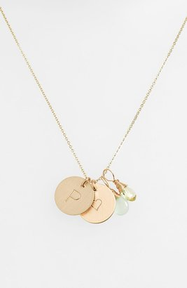 Nashelle Aqua Chalcedony, Lemon Quartz, Initial & Heart 14k-Gold Fill Disc Necklace