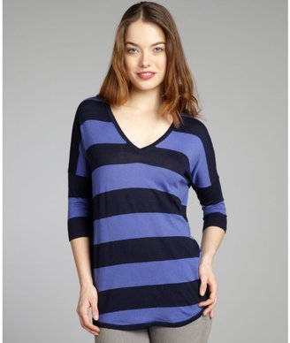 Autumn Cashmere peacoat and sapphire stripe cashmere slouchy fishtail sweater