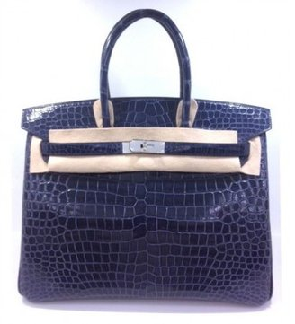 Hermes pristine (PR Blue Abysses Midnight Blue Crocodile Porosus 35cm Birkin Bag