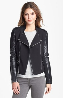 BCBGMAXAZRIA Asymmetrical Ponte & Leather Moto Jacket