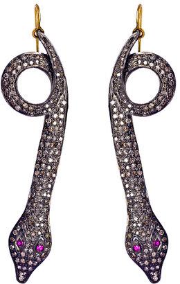 Hari Jewels Diamond Coiled Snake Earrings