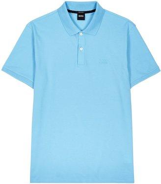 HUGO BOSS Pallas Blue Pique Cotton Polo Shirt