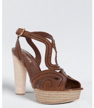 Prada hazelnut stitched shined leather platform sandals