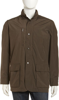 Peter Millar Baldoria Hidden-Hood Tech Jacket, Olive