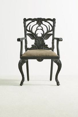 Anthropologie Handcarved Menagerie Deer Armchair By in Black