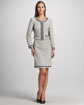 Kay Unger New York Textured-Stripe Suit