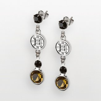 Logoart LogoArt Boston Bruins Silver Tone Crystal Logo Linear Drop Earrings