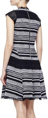 Rebecca Taylor Leather-Sleeve Flared Tweed Dress