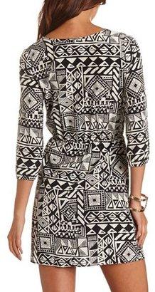 Charlotte Russe Metallic Panel Printed Dress