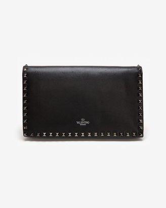 Valentino Noir Rockstud Flap Clutch: Black