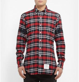 Thom Browne Button-Down Collar Checked Cotton Oxford Shirt