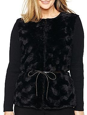 Alfred Dunner Knit with Faux Fur Jacket